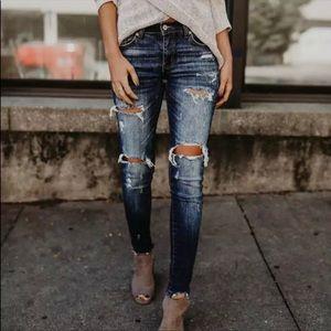 •Into the Blue•Distressed Dark Denim Jeans